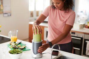 preparing vegan protein shake